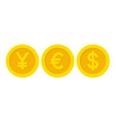 word yes with yellow golden coins yen euro dollar vector image