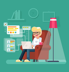 work at home man sit in armchair with laptop vector image