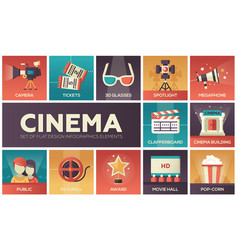 Cinema and movie - modern flat design icons vector