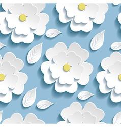 Seamless pattern blue with 3d sakura vector image vector image