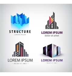 set of building logos 3d structure house vector image vector image