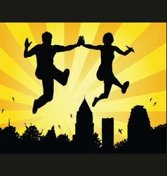 leaping couple vector image vector image