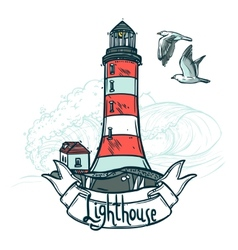 Lighthouse sketch vector