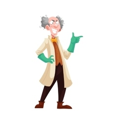 Mad professor in lab coat and green rubber gloves vector image