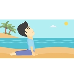 Man practicing yoga upward dog pose on the beach vector