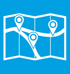 map with pin pointers icon white vector image