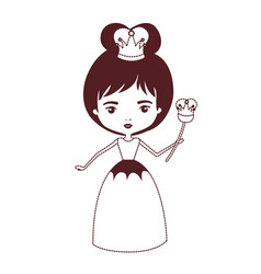 queen with crown and scepter in brown dotted vector image