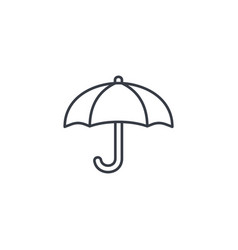 Umbrella protection thin line icon linear vector