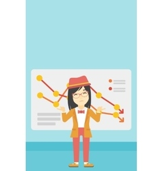 Woman with decreasing chart vector