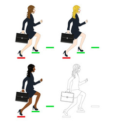 Business woman holding briefcase running to goal vector