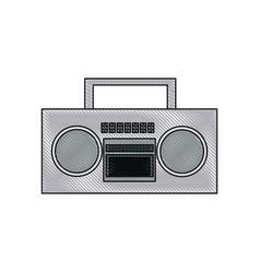 drawing stereo radio music play retro vector image