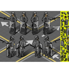 isometric set of eight policemans standing vector image vector image