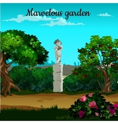 Magic garden with blooming trees and statue vector image vector image