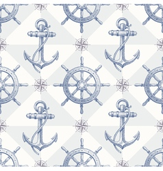 Seamless hand drawn nautical background vector image