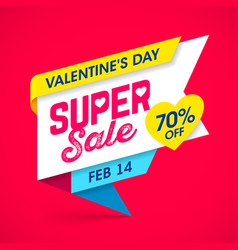 valentines day super sale banner vector image