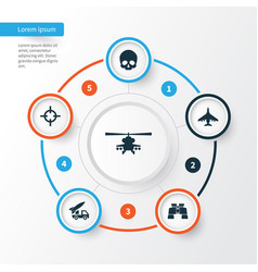 warfare icons set collection of glass aircraft vector image vector image