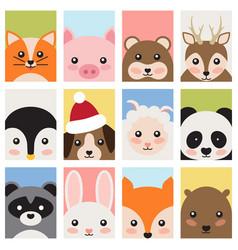 adorable baby animals faces cartoon vector image