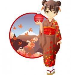 autumn kimono girl vector image vector image