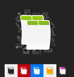 Brick paper sticker with hand drawn elements vector