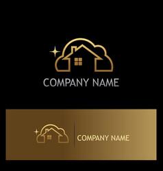 Clean house gold logo vector