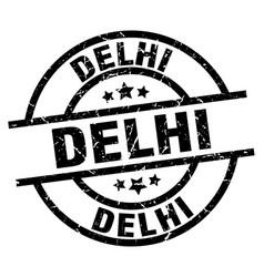 delhi black round grunge stamp vector image