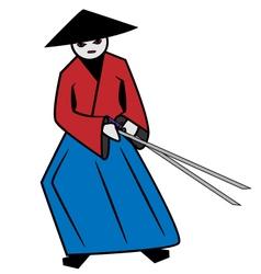 red samurai vector image