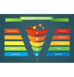 Sales funnel business purchases infographic vector image