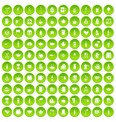 100 usa icons set green circle vector