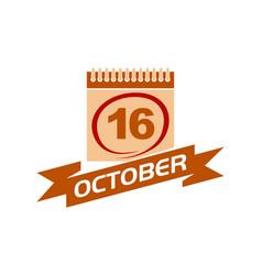 16 october calendar with ribbon vector