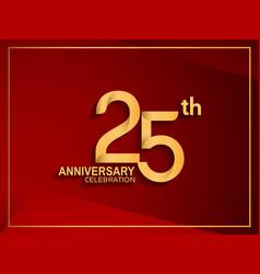 25 anniversary celebration logotype golden color vector