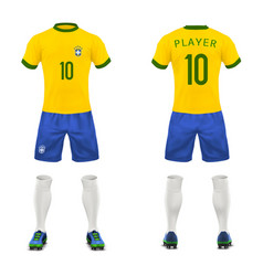 3d realistic uniform of brasil football vector