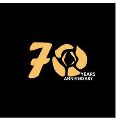 70 year anniversary flower template design vector