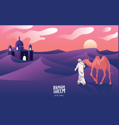 a mans journey with camels through desert vector image