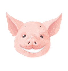 adorable pig character smiles cute little piglet vector image