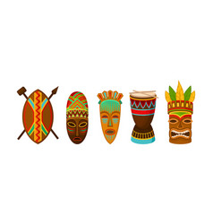 Authentic tribal african attributes set vector