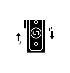 bank transfer black icon sign on isolated vector image