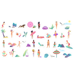 beach vacation summer people activities set vector image
