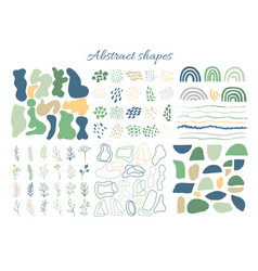 big set hand drawn organic shapes abstract vector image