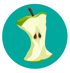 Bite apple core web button isolated on blue vector