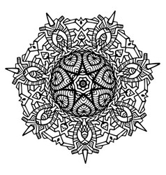 black and white ornamental tribal ethnic mandala vector image