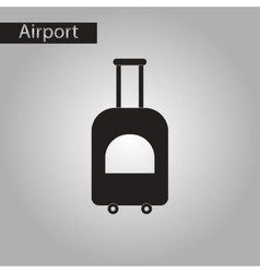 Black and white style icon suitcase on wheels vector