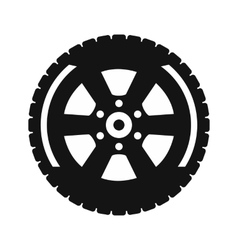 Black wheel flat icon vector