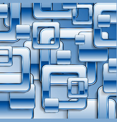 blue tech glossy retro squares background vector image