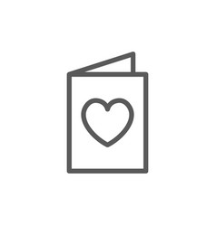 card with heart charity valentine day line icon vector image