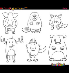 cartoon animal characters set coloring book page vector image