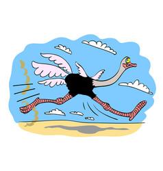 Cartoon image of ostrich vector