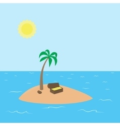 Cartoon Treasure Island with palm chest full of vector