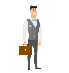 caucasian groom holding briefcase vector image