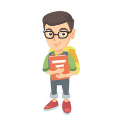 caucasian schoolboy with backpack and textbook vector image