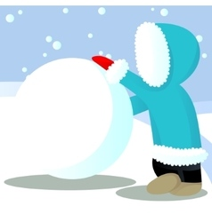 Child roll out snow ball vector